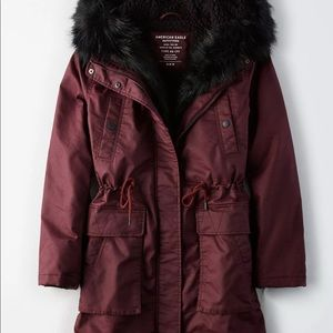 American Eagle AEO Parka Jacket Burgundy